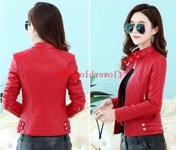 2017 Hot new Women's jackets Short Slim motorcycle Faux leat