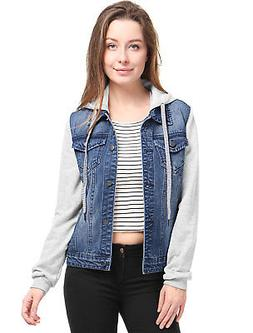 Allegra K Women Layered Drawstring Hood Denim Jacket w Pocke
