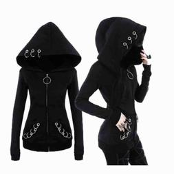 Gothic Women Punk Black Solid Color Hooded Sweat Hoodies Jac