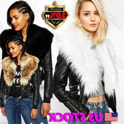 New Womens Fur Leather Black Faux Fur Coats Biker Collar Avi