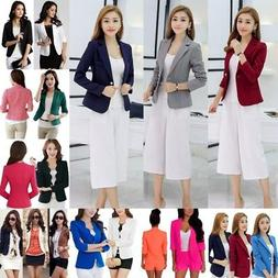 Women OL Slim Solid One Button Business Blazer Suit Jacket C
