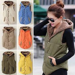 Womens Hooded Vest Coat Winter Warm Jacket Casual Sleeveless