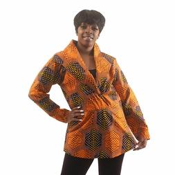 African Print Pull-Over Jacket:Orange Delivery In About 8 Da