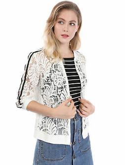Allegra K Women Contrast Striped Zip Up Lace Bomber Jacket