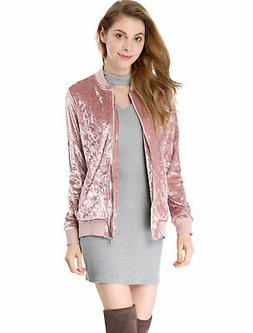 Allegra K Women Crushed Velvet Zip Up Pockets Bomber Jacket