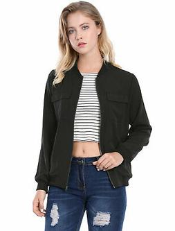 Allegra K Women Multi-Pocket Zip Front Lightweight Bomber Ja