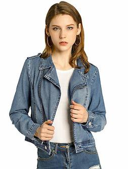 Allegra K Women Notched Lapel Asymmetric Zip Moto Denim Jack
