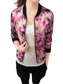 Allegra K Women Stand Collar Zip Up Floral Prints Bomber Jac
