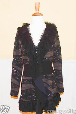 Bali Lace Ruffled Womens Jacket 3 Button Black & Taupe - NWT
