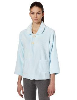 Casual Moments Womens Bed Jacket With Peter Pan Collar, Ligh