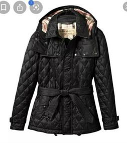 Burberry Brit Black Finsbridge Quilted Hooded Short Jacket S