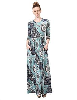 NE PEOPLE Women's Bohemian Round Neck 3/4 Sleeve Printed Max