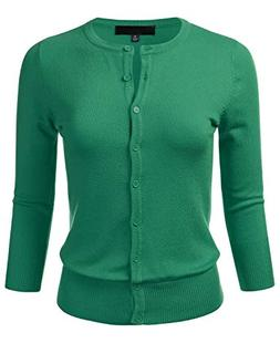FLORIA Women's Button Down 3/4 Sleeve Crew Neck Knit Cardiga