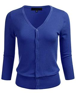 Women's Button Down 3/4 Sleeve V-Neck Stretch Knit Cardigan