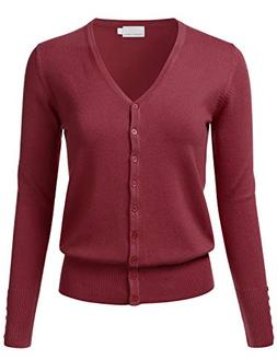 FLORIA Women's Button Down V-Neck Long Sleeve Soft Knit Card