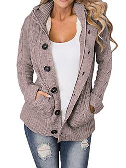 Enjoybuy Womens Cable Knit Cardigan Sweaters Hooded Open Fro