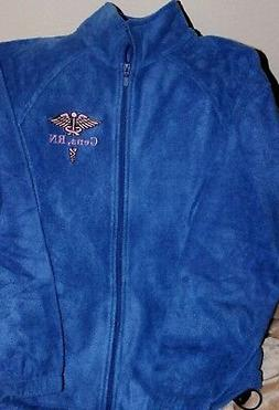 Caduceus RN Nurse RT Fleece Blue Zip Jacket Embroidered Pers