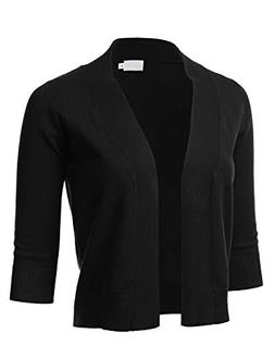 FLORIA Womens Classic 3/4 Sleeve Open Front Cropped Cardigan