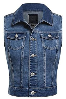 Fahion Boomy Women's Sleeveless Button Up Jean Denim Jacket