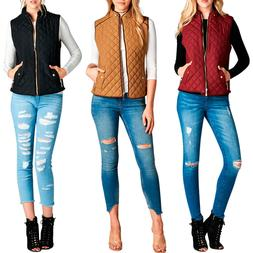 FASHION BOOMY Women's Quilted Padding Vest - Zip Up Padded C
