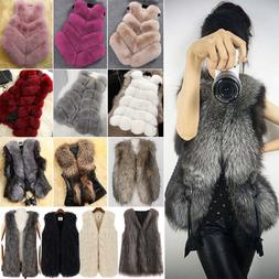 Fashion Faux Fur Womens Jacket Coat Body Sleeveless Vest Wai