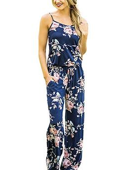 Floral Printed Jumpsuit Women Halter Sleeveless Wide Long Pa