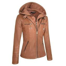 Hooded Faux Leather Jacket Women Zipper Motorcycle Coat