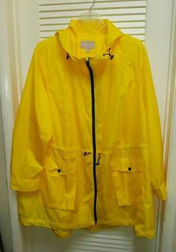 Woman Within Hooded Yellow Rain Jacket Coat Plus Size 34W NW