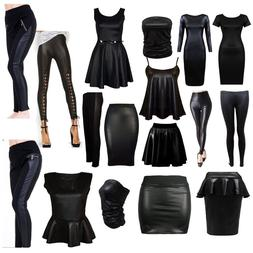 Hot Ladies Womens PU Leather Wet Look Pencil Skirt Bodycon D