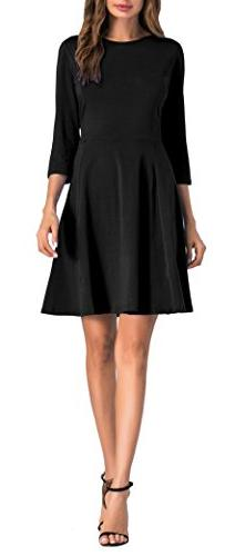 Sarin Mathews Womens 3/4 Sleeve A-Line Casual Dresses Knit F