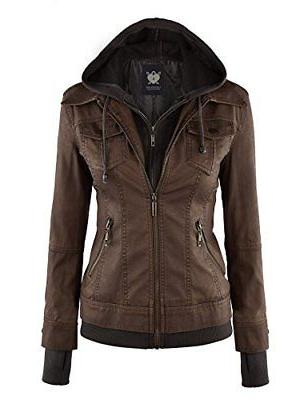 Lock and Love WJC664 Womens Faux Leather Jacket With Hoodie