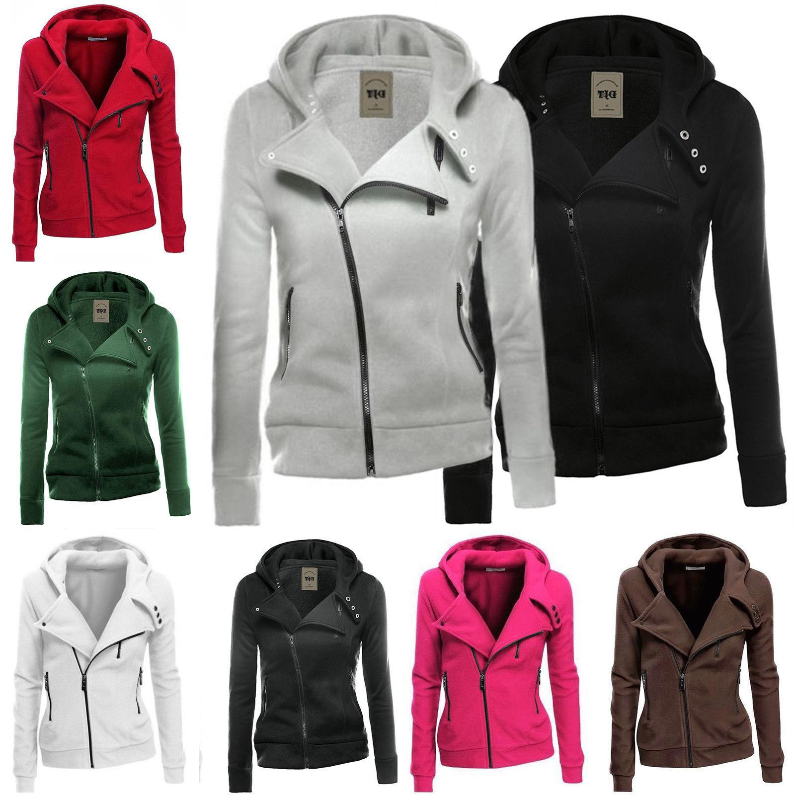 Women Zipper Tops Hoodie Hooded Sweatshirt Jacket Casual Slim