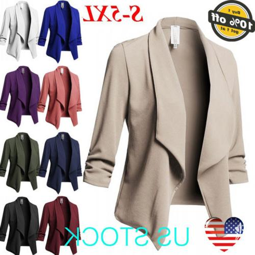 Women Slim Casual Jacket Top Sleeve Formal Short Coat