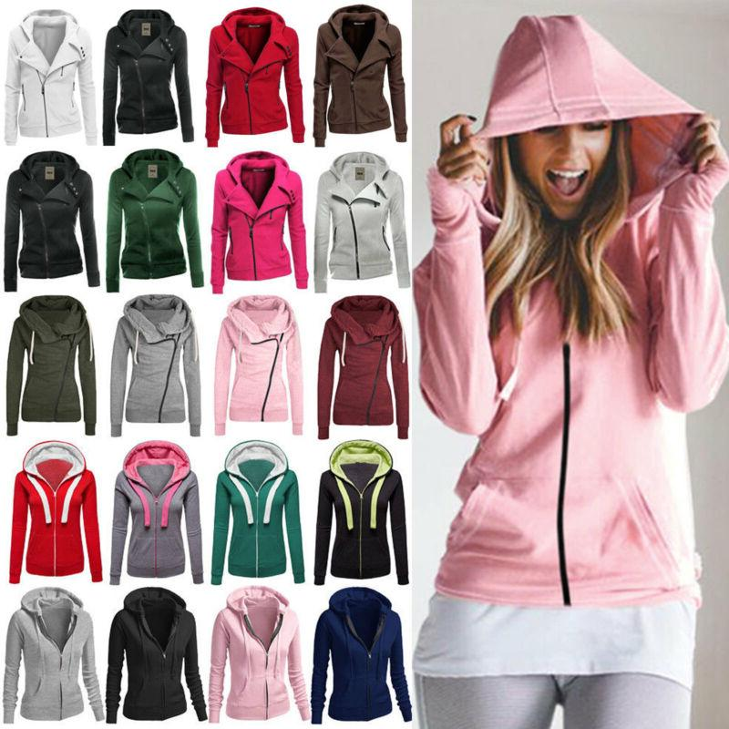 Winter Women Plain Zipper Fleece Hooded Sweatshirt Coat Jack