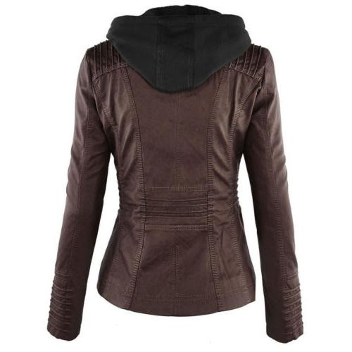 Womens Leather Hooded Slim Coat Overcoat Trench Winter
