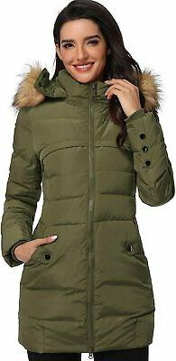 Epsion Women's Hooded Thickened Long Down Jacket Winter Down