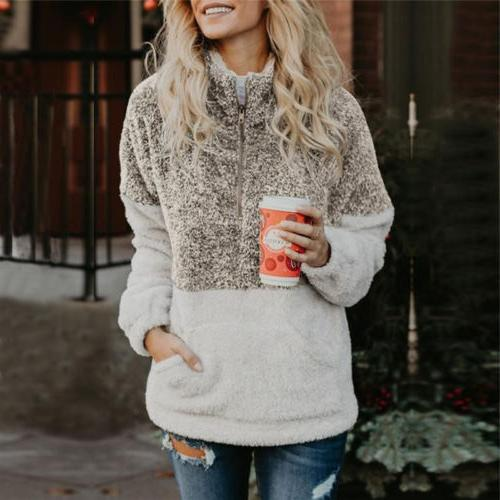 Fleece Jacket Tops Hooded Fluffy Coat