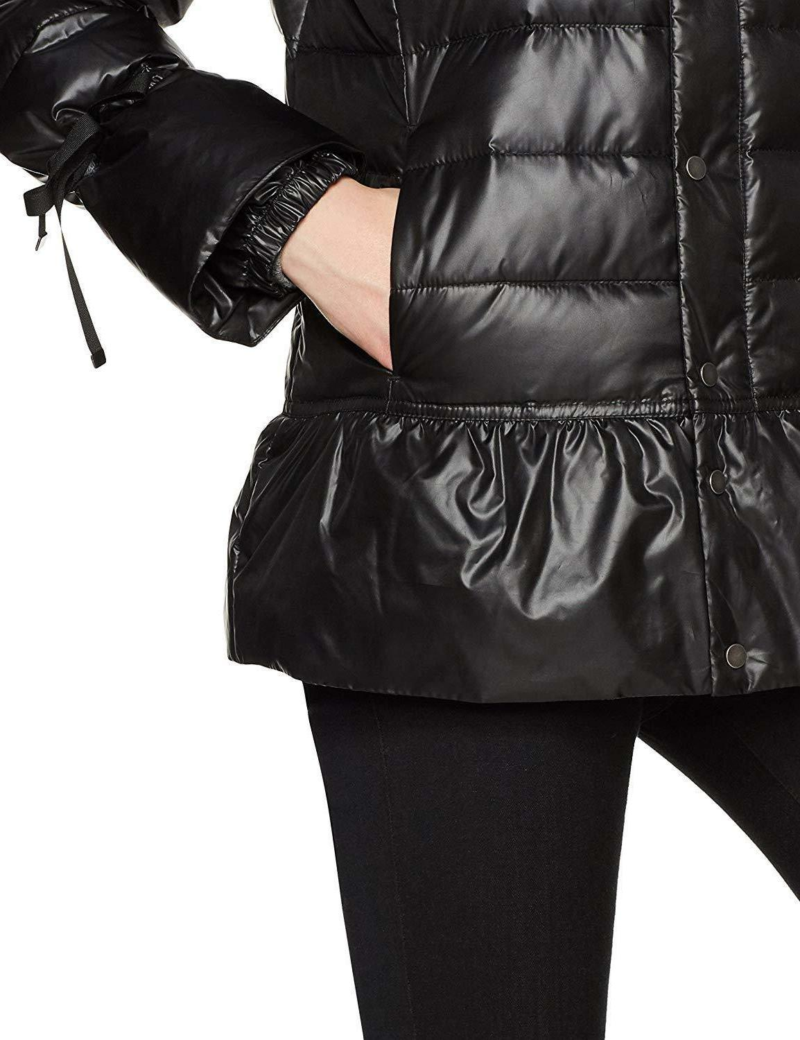 Haven Neck Puffer Jacket With Peplum