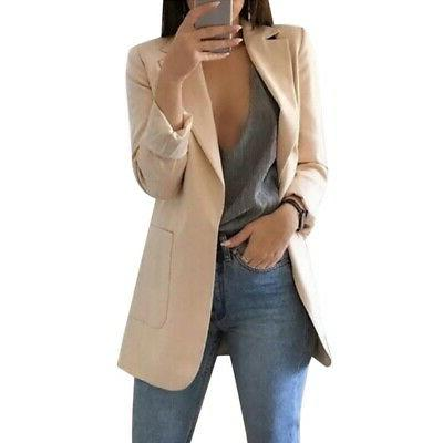 US Women Suit Coat Blazer Long Sleeve Ladies Jacket P/D