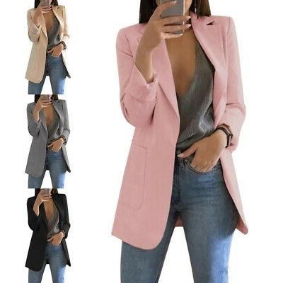 Women Slim Casual Blazer Jacket Top Outwear Long Sleeve Care
