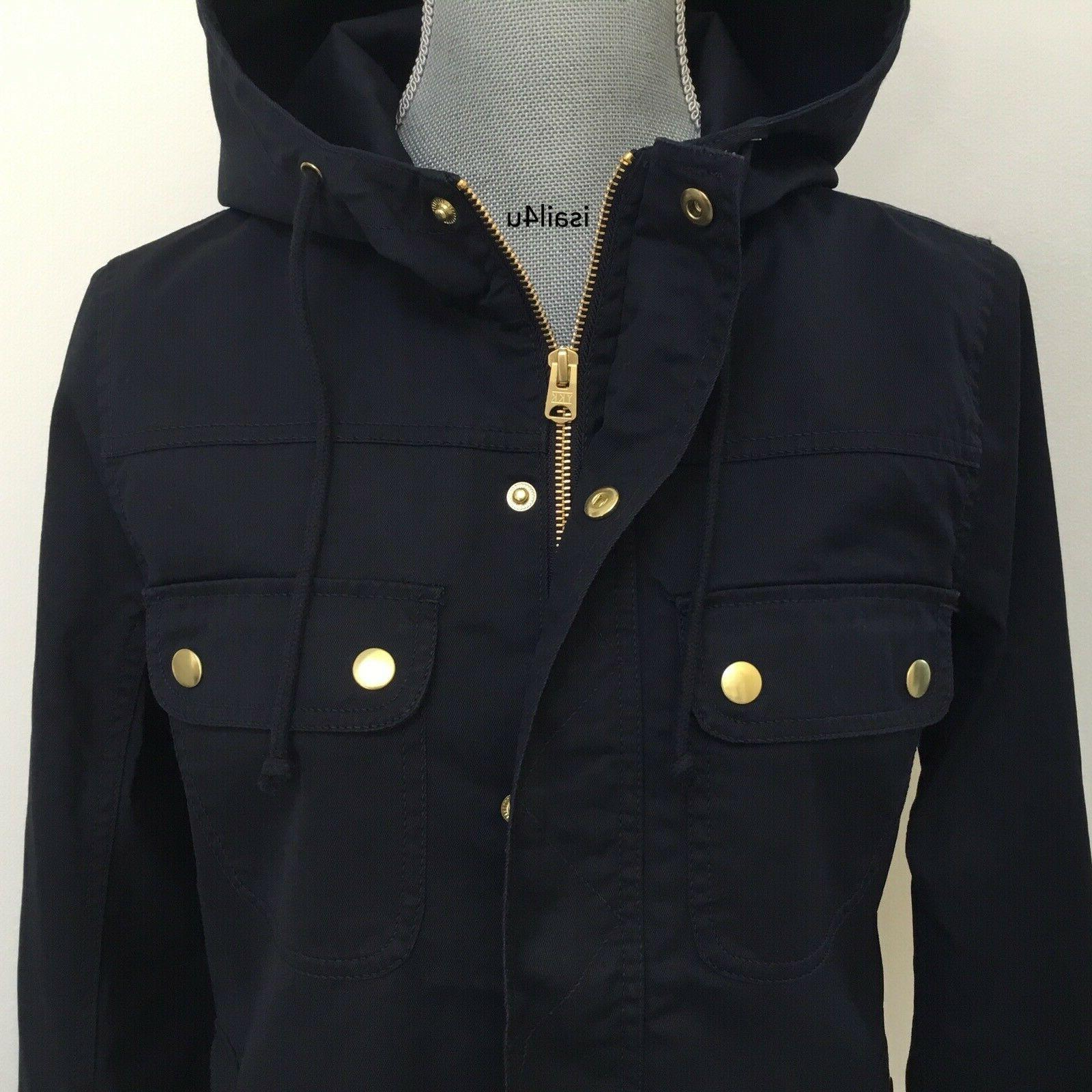 J.Crew Factory Resin-Coated Jacket With Hood In Navy
