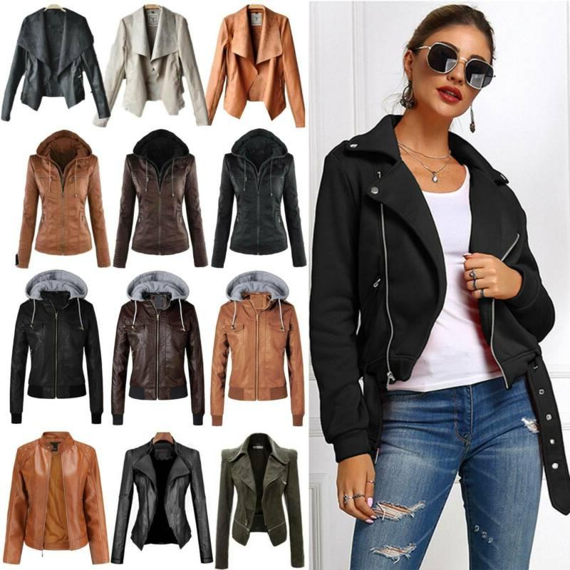 Womens Faux Leather Jacket Coat Zipper Biker Motorcycle Jack