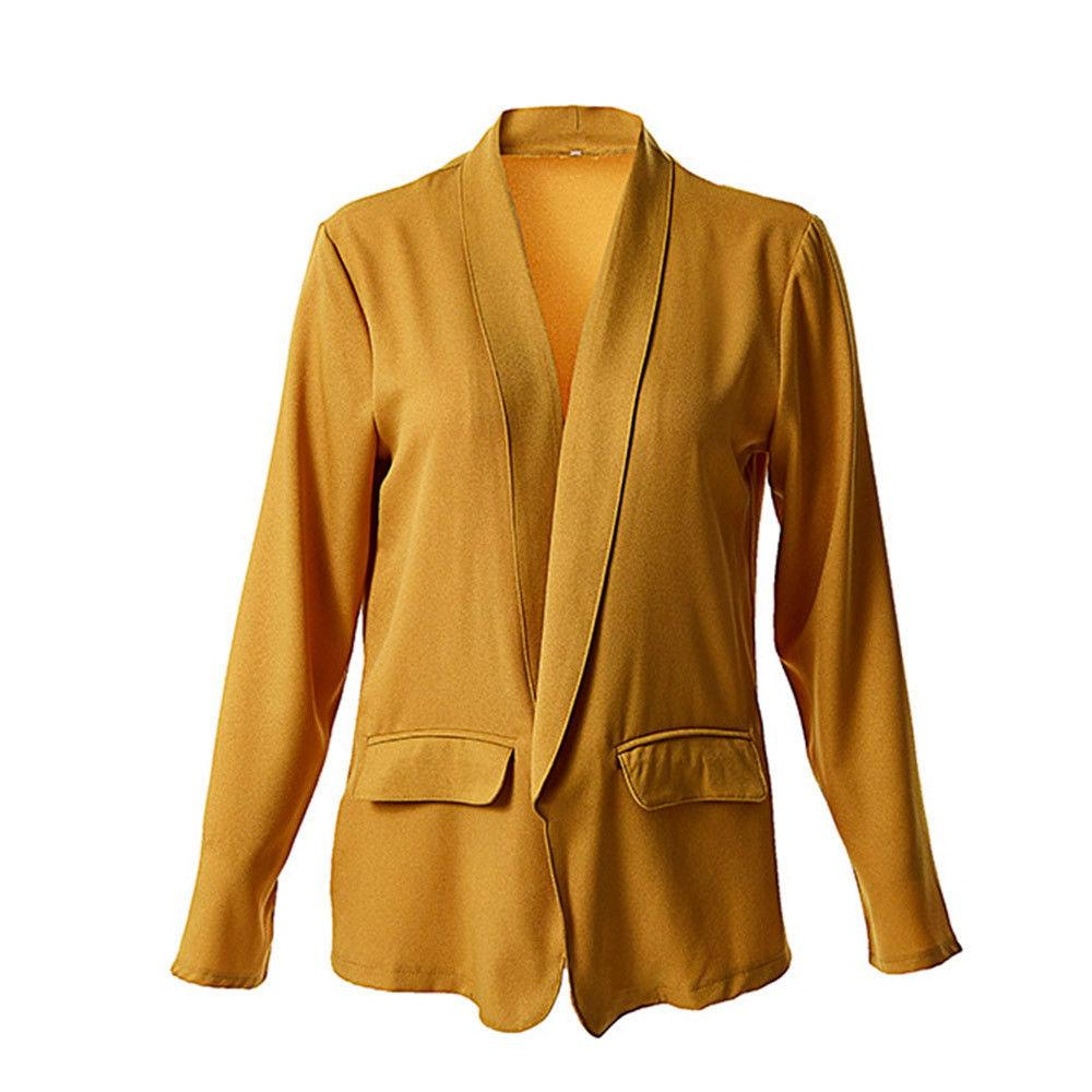 Ladies Long Sleeve Solid Front Coat
