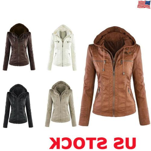 Ladies Womens PU Leather Jacket Hooded Motor Coat Winter Out