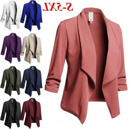 Plus Collar Suit Jacket Blazer Ladies 3/4 Cardigan Top US