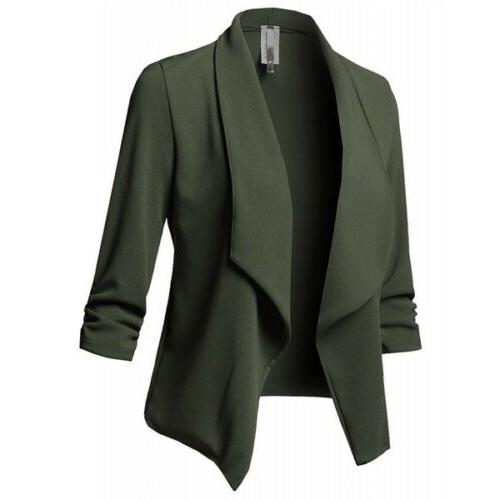Women Slim Casual Blazer Jacket Sleeve Coat