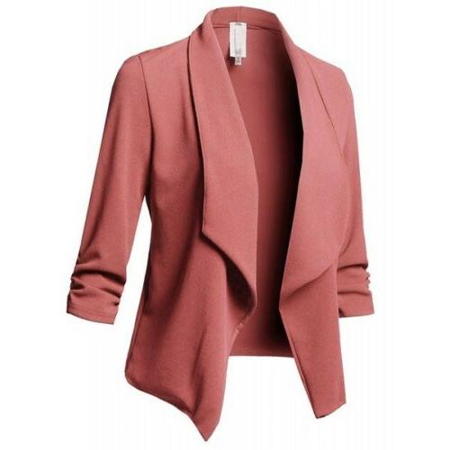 Women Casual Blazer Jacket Coat Tops Outwear Long Plus