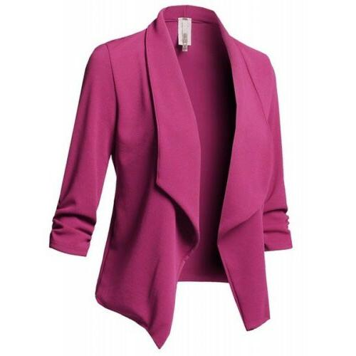 Women Slim Jacket Top Sleeve Short Coat