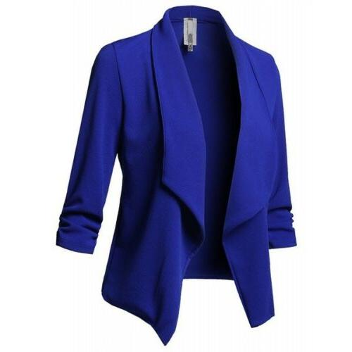 Plus Collar Suit Jacket Ladies Cardigan Top US