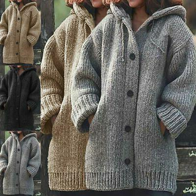 Plus Size Hooded Knitted Cardigans Jumper Winter Warm